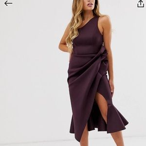ASOS Purple/Wine One shouldered draped dress